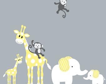 Vinyl Decal Animals Giraffe Elephant Monkeys Mother Baby