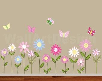 Vinyl Wall Decal   Vinyl Wall Decal Stickers Daisy Flowers Butterflies