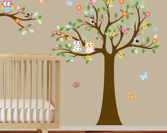 Vinyl Wall Decal Sticker Flower Tree with Owls and Birds Baby Nursery Tree