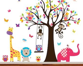 Nursery Wall Decal, Kids Wall Decal Sticker, Vinyl Wall Decal,  Nursery Tree Decal, Colorful Wall Decal