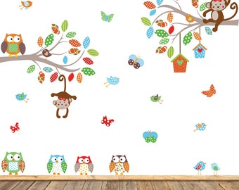Vinyl Wall Decal  Children's Wall Decal - Baby Wall Decal - Nursery Wall Decal - Girl - Baby - Owl Branch Decal