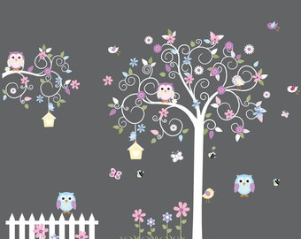 Swirl tree wall decals, vinyl wall decal, nursery wall decal, nursery wall sticker