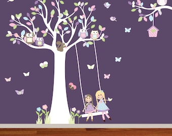 New design Baby Girl Tree Decal Nursery Wall Stickers Colorful Tree Owl dolls swing wall decal