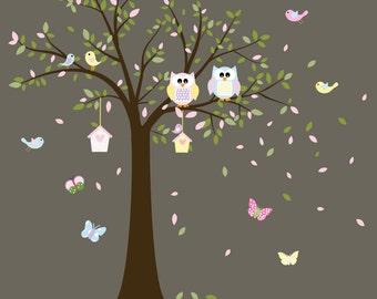 Nursery Wall Tree Decal - Children Wall Decals - Baby Wall Decal - Kids Wall Decals - Owl Tree Decal