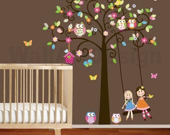 Vinyl Wall Decal Stickers Swirl Swing Tree Set with flowers,dolls,owls and birds Nursery Girls Baby