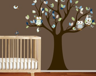 Vinyl Wall Decal Stickers Owl Tree Set Nursery Baby Pattern Leaf Tree Vinyl Wall Art