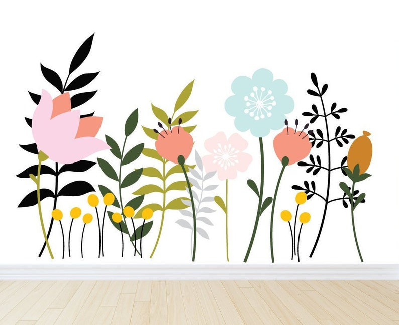 large flower wall decals with stems wall decals vinyl wall | etsy