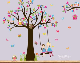 Vinyl Wall Decal  Baby Girl Tree Decal Nursery Wall Stickers Colorful Tree Owl dolls swing wall decal