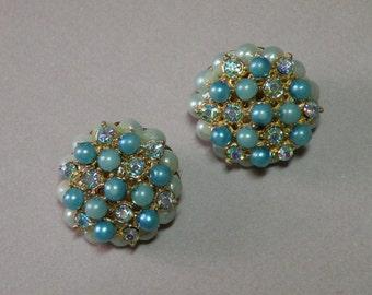 Vintage Aqua Bead Earrings