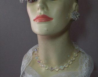 Vintage Crystal Necklace & Earring Set
