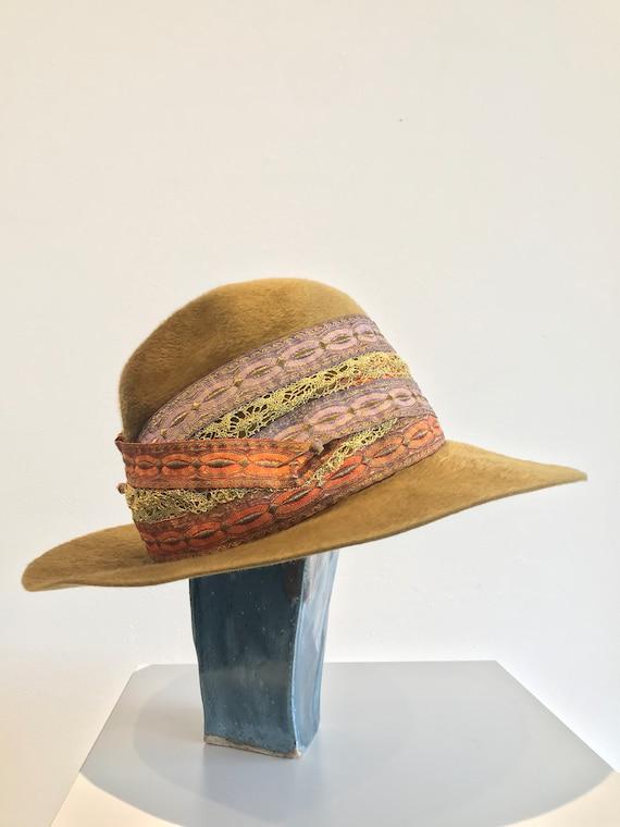 Vintage Mr John Jr Camel Wool Cloche Hat