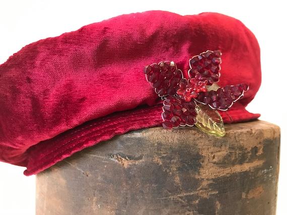 D. Charles 1950s Red Vintage Crushed Velvet Beret