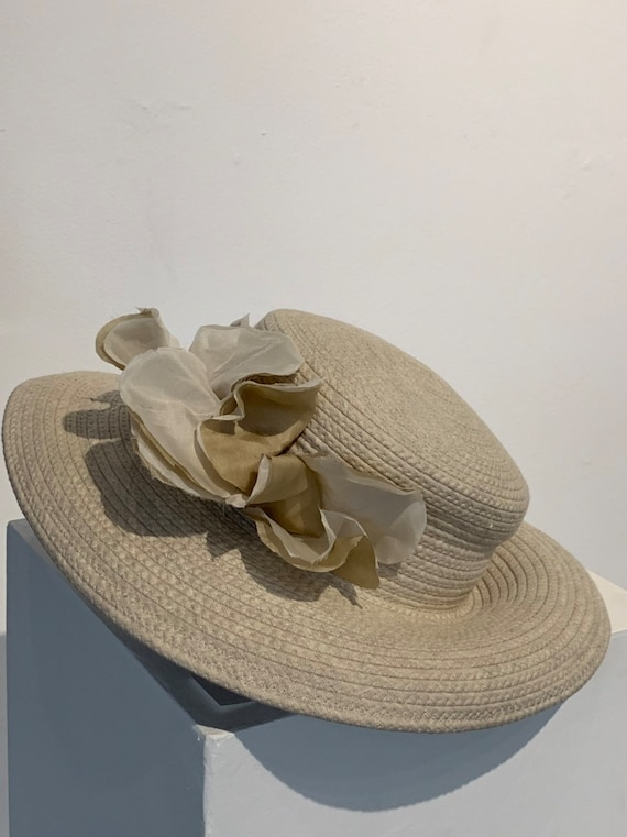 David Cohen Sun Hat Ivory Flower