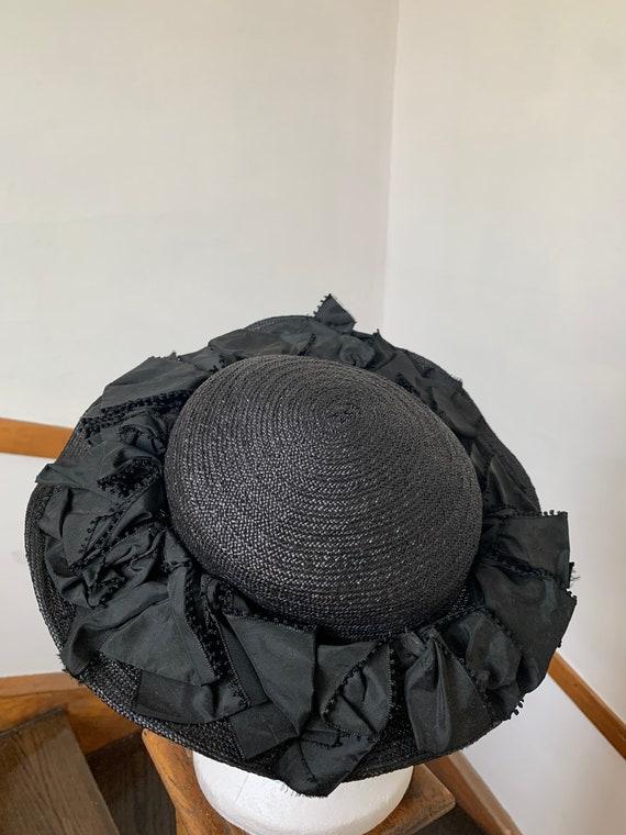 1940s Black Straw Millinery Tilt Hat Vintage Sun H