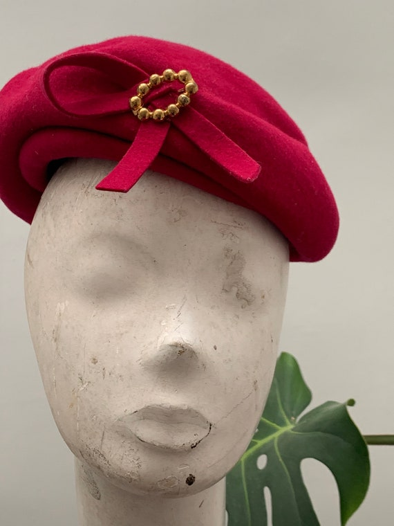 Vintage Hot Pink Wool Beret Hat with Gold Bow