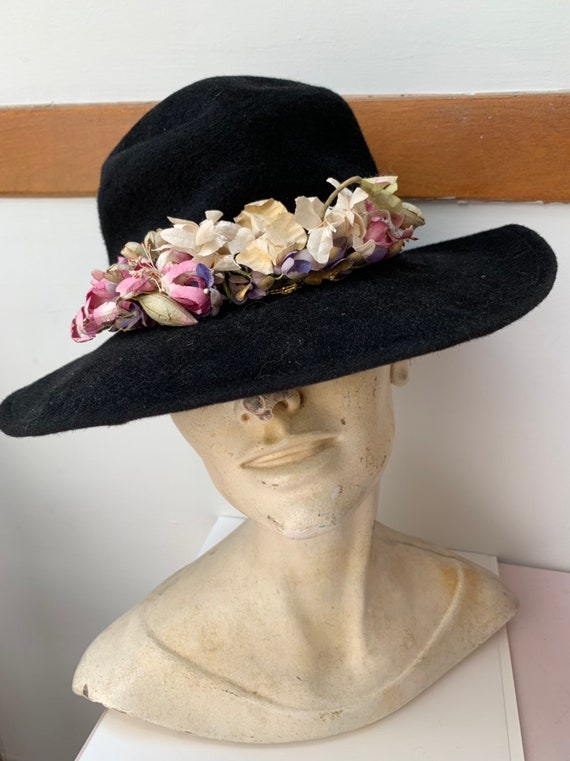 Hooray Henri Flower Black Hat 1990s Designer Bucke