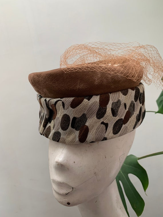 Vintage 1960s Pillbox Hat Netting Metallic Thread