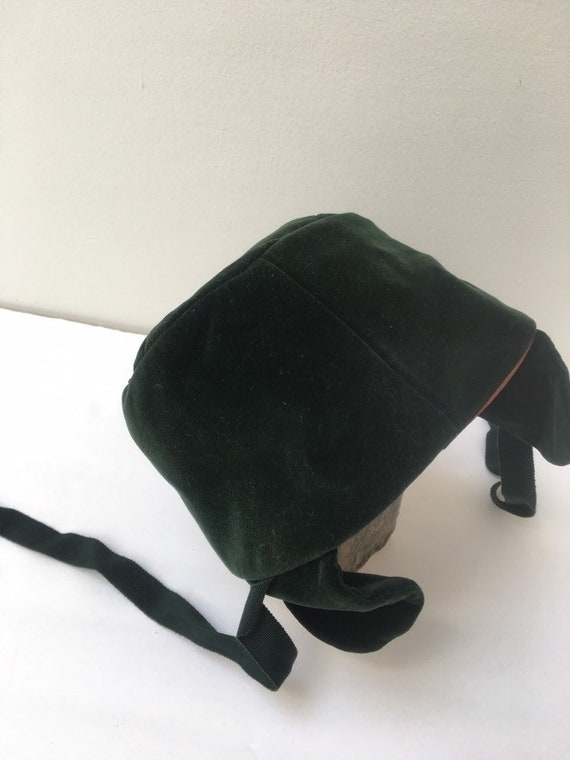 1930s Ladies Green Crushed Velvet Hat Ear Covers A