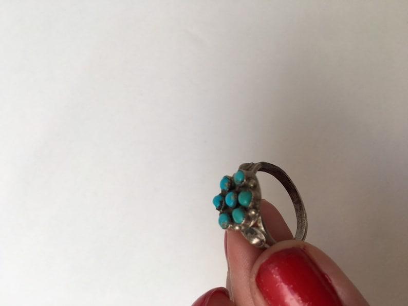 Harvey Era 1940s Sterling Ring Zuni Turquoise
