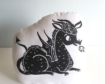 Dragon Shaped Animal PIllow. Hand Woodblock Printed. Choose ANY Colors. Made to Order. Takes 1-2 Weeks to Make.