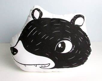 Baby Bear Pillow. Hand Screen Printed. Ready To Ship.