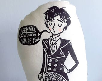 Mr. Darcy Shaped Pillow Plushie. Pride and Prejudice. Jane Austen. Hand Woodblock Printed. Ready to Ship.