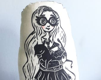 Luna Lovegood and a Baby Thestral Pillow. Literary Character Linocut Print.  Hand Woodblock Printed. READY TO SHIP.