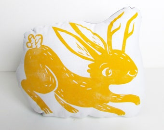 Jackalope Shaped Animal Pillow. Choose Any Color. Cute Decorative Pillow. Hand Woodblock Printed To Order. Takes 1 week to make.