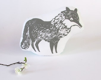 Wolf Shaped Animal Pillow. Hand Woodblock Printed. Choose Any Color. Made to Order.