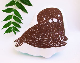 Seal Shaped Animal Pillow. Hand Woodblock Printed. Choose Any Color. Made to Order.