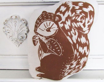 Squirrel Shaped Animal Pillow.  Hand Woodblock Printed. Choose Any Color. Made to Order.