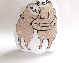 Sloth Shaped Animal Pillow. Hugging. Hand Woodblock Printed. Ready to ship.