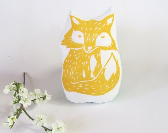 Fox Shaped Animal Pillow. Woodblock Printed. Choose Any Color. Made to Order.