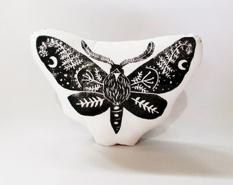Moth Shaped Animal Pillow. Moth Plushie. Hand Woodblock Printed. Choose Any Color. Made to Order.