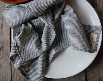 GRAY PINSTRIPES: organic cloth napkins | organic cotton + hemp | zero waste | linen napkins | lightweight | modern dinner napkins