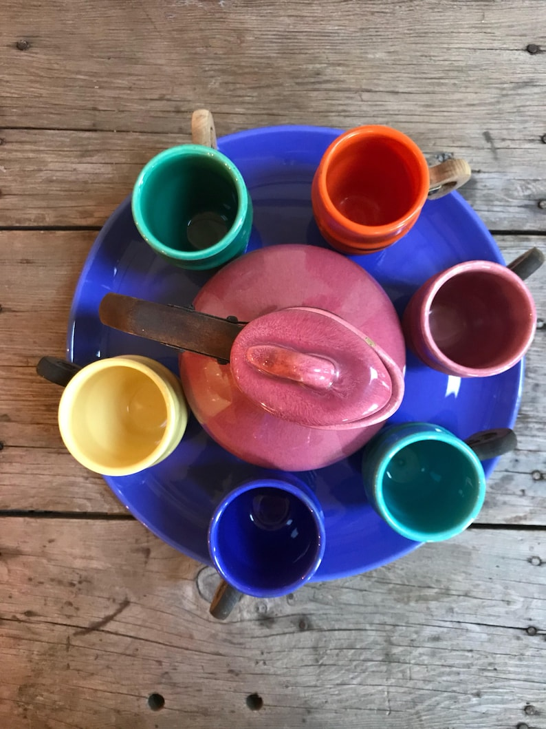 teak 236-7 ceramic carafe beverage set metlox poppy trail 200 series antique california pottery Mid-Century Modern. 1935