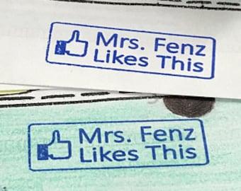 Facebook Like Stamp - Custom Teacher Facebook Like Button Rubber Stamp - Custom Teacher Gift - Custom Self-inking Facebook Rubber Stamp