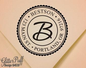 Monogram Address Stamp - Round Self inking Return Address Stamp -  (G4530) Wedding Gift Address Stamp