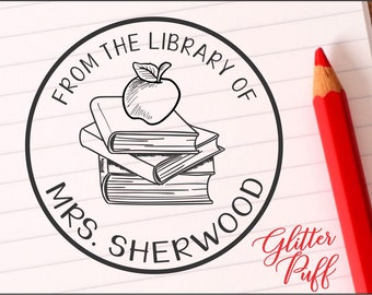 Custom Teacher Stamp - Personalized Class Library of Stamp - Classroom Books Stamper, Apple Teacher Gift, Book Rubber Stamp Self-inking