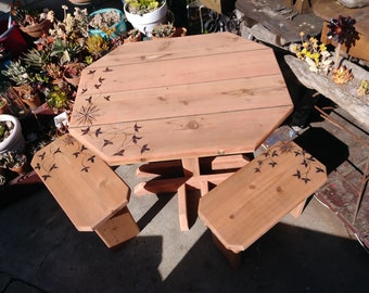 Handmade Redwood Bistro Table and Chairs