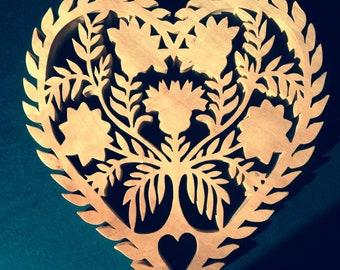Scandinavian style heart trivet design