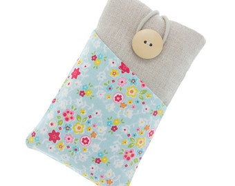 iPhone 5 case, iPhone SE pouch, fabric iPhone 6 case, iPhone 6 S with pockets, cell phone case, iPhone pouch, colorful flowers, aqua blue