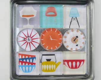 Mid Century Modern Themed Refrigerator Magnets, Set of 9 Fridge Magnets with Storage Tin- Retro Magnets