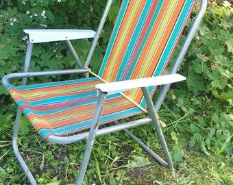 Vintage 1970s Striped Deck Chair Aluminium Frame Folding Rainbow Stripe Camping Campervan