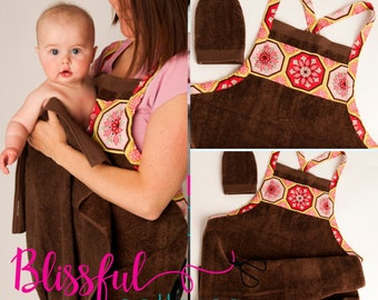 PDF Sewing Pattern for Baby Shower Gift to Sew Bath Apron Towel and Mitt - INSTANT DOWNLOAD - By BlissfulPatterns
