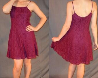 90s Grunge Maroon Lace Short Dress - Small Medium