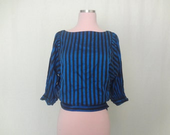 Black and Blue Stripe Blouse - Small Medium