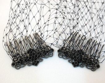Black Birdcage Veil Bandeau Style Ladies Black Veil Blusher 9 inch French Net Rhinestone Combs