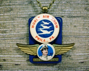Artisan Pendant; Fly the Friendly Skies; Unique Necklace; Pilot necklace; one of a kind necklace, Assemblage Necklace; Gift for Her; Unique