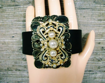 Upcycled Bracelet; Artisan Cuff; Black Leather Cuff; One of a Kind; Handcrafted Cuff; Assemblage Bracelet; Gift for Her; Best friend gift